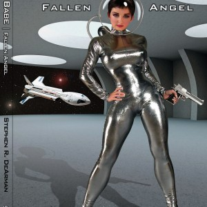 Rocket Babe Fallen Angel book cover with Cestris model in background.
